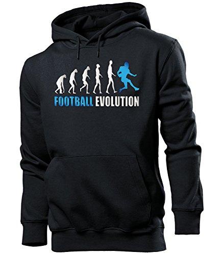 love-all-my-shirts Football Evolution 530 Fanhoodie Männer Herren Hoodie Pulli Kapuzen Pullover Kapuzenpullover Sportbekleidung Sport Schwarz aufdruck Blau XL