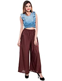 CAY® Brown Color Solid Stylish Plazzo With Elastic Waist And Western Wear ( SIZE : FREE SIZE )