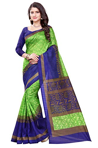 Seemore Sarees Green and Blue Bhagalpuri Art Silk Saree (Bhagalpuri Sarees 64 Green Blue)