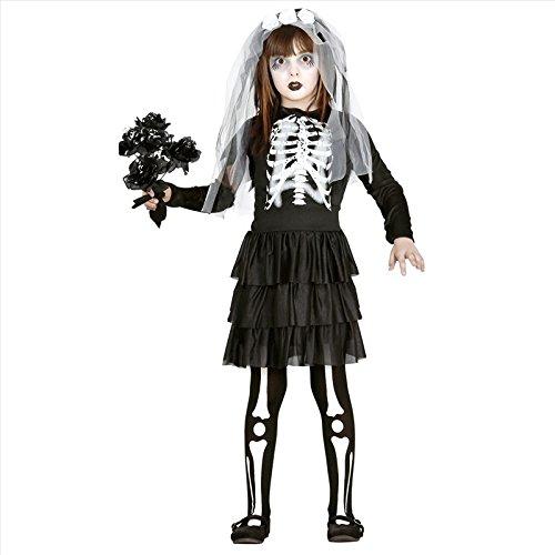 (Guirca Braut Skelett Kinder Kostüm für Halloween Mädchen Halloweenkostüm Gr. 110-146, Größe:140/146)