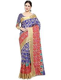 Shree Sanskruti Women's Poly Cotton Saree With Blouse Piece (Jashn Jaal Blue_Beige & Blue)