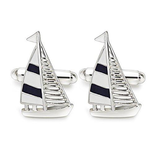 Manschettenknöpfe Herren, Mr.Van Nautisch Segelboot Klassische Mode Modern Streifen Cufflinks für Geschäftliche Anlässe Hochzeit
