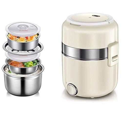 Fiambrera eléctrica calefaccionada Vacío Contenedor de almuerzo aislado con 3 capas, 2.1QT, potencia ajustable, forro de acero inoxidable, función de olla eléctrica para cocinar, protección automática