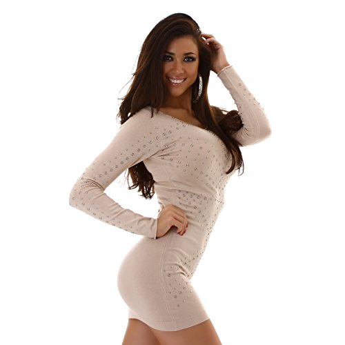 ENZORIA Damen Kleid Strickkleid Langarm Rundhals Nieten elegant S M L 34 36 38 Beige