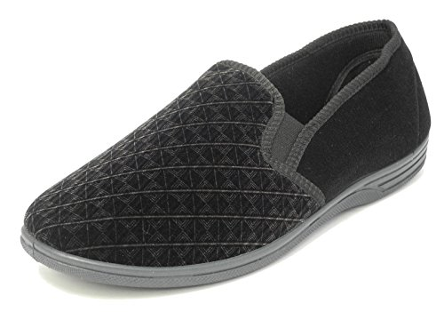 Mens Zedzzz Luxury Warm Comfort Velour Shoes Slippers Big Sizes BLACK SIZE...