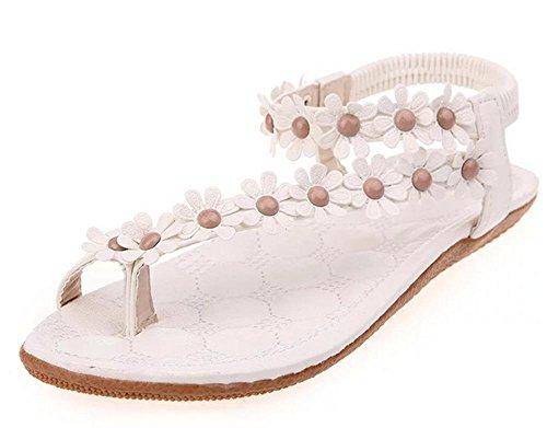 Student flache Sandalen weiblicher Sommer Strass-Sandalen mit flachen Sandalen Größe Frauen Weiß