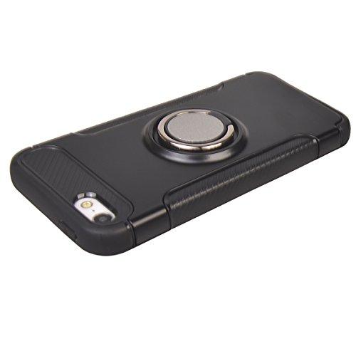 Coque Apple iPhone 5/ 5S/ SE,COOLKE Haute qualité Etui Housse Robuste Protection de Double Couche d'Armure 360 Degrés Rotation Ring Holder Stand Protection case cover pour Apple iPhone 5/ 5S/ SE - Ros Noir