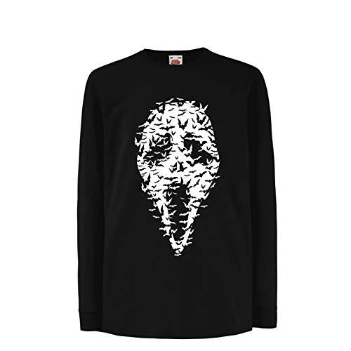 lepni.me Kinder-T-Shirt mit Langen Ärmeln Geister - gruselige Fledermäuse, Halloween Partykostüm (14-15 Years Schwarz Mehrfarben)