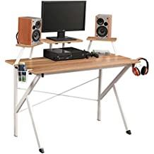 AZW@ Soges Computer Gaming Desk Table Computadora Workstation Desk Panel de Soporte Ajustable, Portavasos