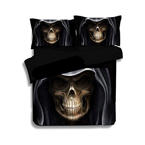 3D Bedruckte Geheimnisvolle Watercolor Totenkopf Bettdecke Bettbezug Kissenbezug Spannbettlaken Bettwäsche Sets enthalten 1Bettbezug 2Kissenbezüge, Hat Skull, 200*200cm