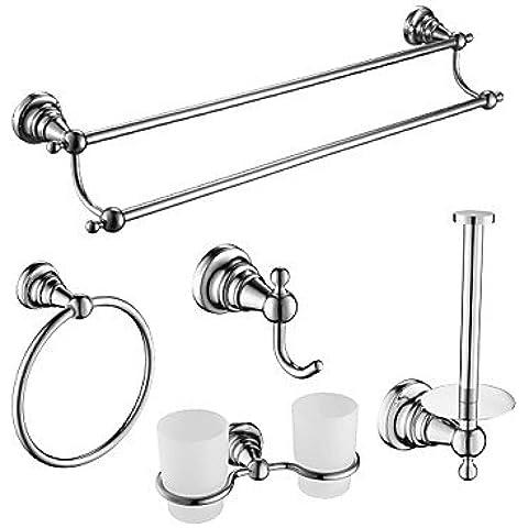 ZDQ- 5 piezas juegos de baño accesorios, aleación de zinc, acero inoxidable, material de acabado de latón cromado, accesorios de baño
