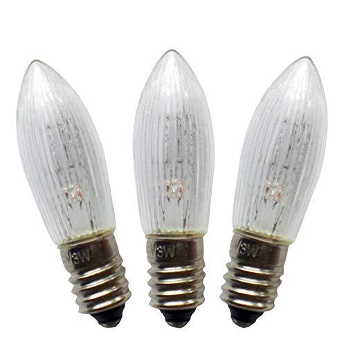 ersatzbirnen lichterbogen netSells® * 3er Set * 34 V / 3 W Topkerze/Riffelkerze / Spitzschaftkerze * für Schwibbogen u. Lichterketten * für 7 Brennstellen * f. innen * klar