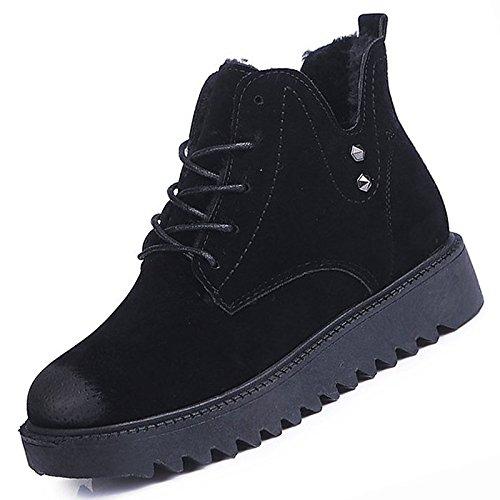 HSXZ Scarpe donna pu inverno combattere Stivali Stivali Chunky tallone punta tonda Mid-Calf scarponi per Casual marrone nero Black