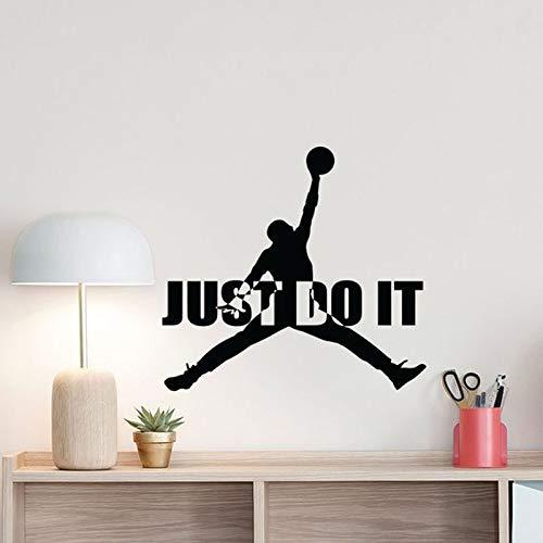 lyclff Basketball Wandtattoo Just Do It Michael Jordan Zitat Jumpman Zeichen Poster Motivation Gym Vinyl Aufkleber Home Fitness Decor 45x42c