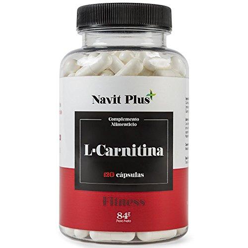 L CARNITINA de Navit Plus, Complemento alimenticio natural para la pérdida de peso y potente quemador de grasa deportivo. Ofrece un mayor aporte de energía y resistencia. Aminoácidos deportivos. 120 cápsulas.