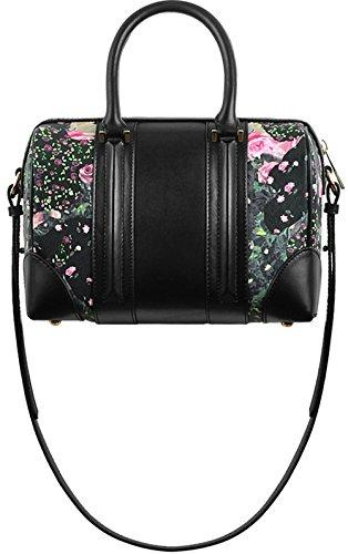 Xinmaoyuan Borse donna in pelle stampata borsa alla moda cuscino di Boston Borsa a tracolla Nero