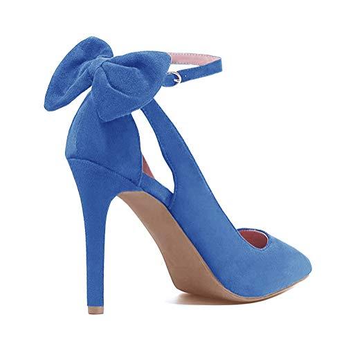 Tomwell Sandalias Mujer Arco Tacón Alto Zapatos Apuntado Zapatos Boda Fiesta Zapatos Azul 37 EU