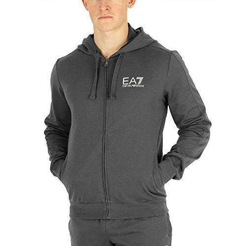 eb59e75d067b5 Emporio Armani EA7 Mens Core Sweat Lightweight Cotton Full-Zip Hoodie  3GPM59 - Grey