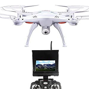"Syma X5SC Explorers + 5.8g FPV Real-Time image,4.3"" Monitor with 2MP HD Camera 6-Axis Gyro RC Headless Quadcopter RTF (Random:White,Black)"