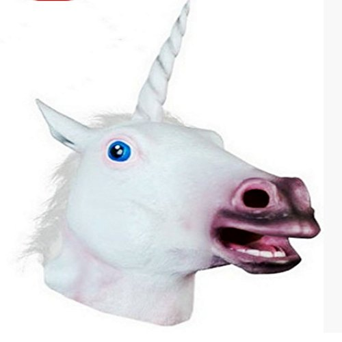 Om Einhorn-Maske, Halloween, gruselig, für Erwachsene, ()
