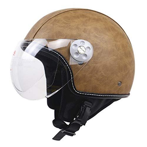 Vintage Motorrad Crash Harley Halbhelm, DOT Open Face Elektro Fahrrad Chopper Cruiser Jet Bobber Retro Helme,M