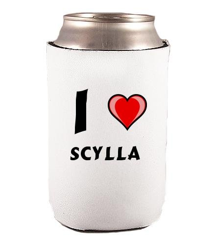 Custom Beverage Can / Bottle Cover (Coolie) with I Love Scylla (first name/surname/nickname)