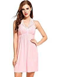 3bb5bca9d3 Ekouaer Women Lounge Nightdress Sleepwear Halter Hollow Out Lace Patchwork  Chemise Nightie Nightgown S~XXL