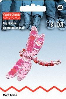 Motif br. libellule rose avec paillettes