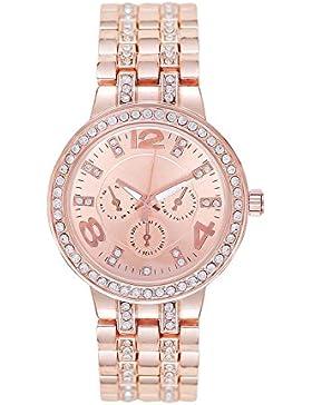 Designer Strass Kristall Roségold Damenuhr Uhr Chronograph Optik Rose Rosegold Gold Armbanduhr Rosengold Rotgold...