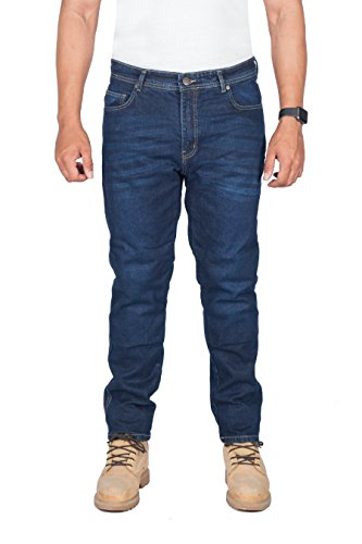 HB MotorradHose - Motorrad DuPont Kevlar ® Jeans. Herren-Straight Fit, blau Motorradhose mit CE-Protektoren, 32W x 30L, Blau -