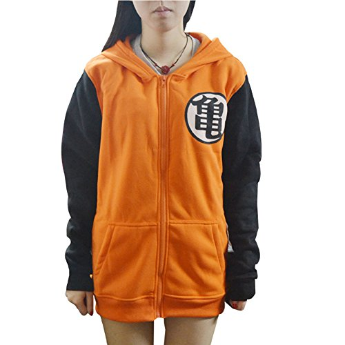 BELLER Herren Kapuzenpullover Anime Dragon Ball Z Goku Symbol Zip Hoodies Long Sleeve Sweatshirt - - Groß