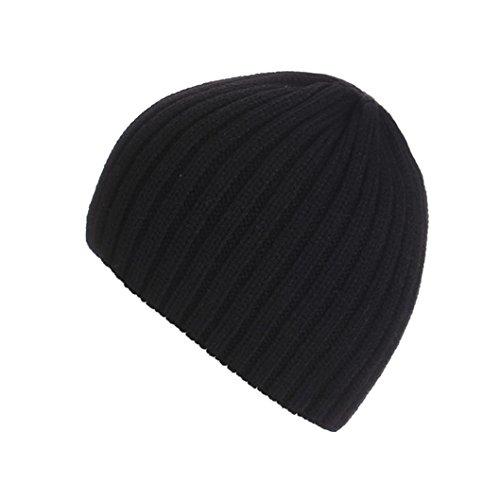 Amlaiworld Strickmützen, Unisex warm Knit ski Baggy Cap Winter Hat (Schwarz)
