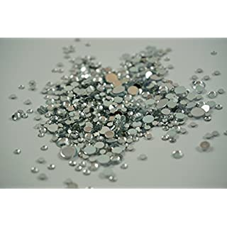 Silver Rhinestones, 500 Per Pack, Mixed Sizes, Flat Back, Acrylic Gems / Crystals