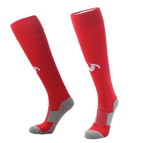 Jugend-rot-baseball-socken (AUDAZIC Männer Sport Fußball Fußball Lange Socken Baseball Socken Über Kniehohe Socke Team Socken für Jugend 1 paar)