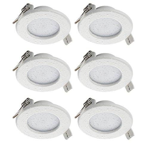 SEBSON® LED Einbaustrahler 230V flach, Badezimmer geeignet IP44, integrierter Treiber, 5W, rund, warmweiß (3000K), 400lm, Einbauleuchte, Deckenstrahler, LED Panel Bad, 6er-Pack