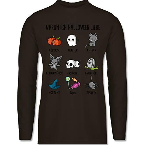 Shirtracer Halloween - Warum ich Halloween Liebe - L - Braun - BCTU005 - Herren Langarmshirt