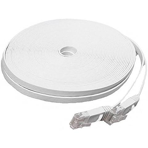GiXa Technology 5m - 50m / Meter Farbe Schwarz und Weiß CAT6 Flach Netzwerkkabel Patchkabel DSL Ultra Flach Netzwerk Lan Internet Kabel RJ45 10/100/1000 Mbit/s kompatibel zu CAT.5 CAT.5e CAT.7 Modem / Router Kabel Verbindungskabel (10 Meter,