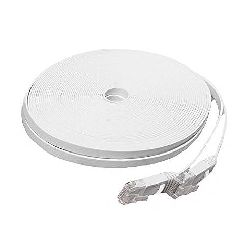 GiXa Technology 5m - 50m / Meter Farbe Schwarz und Weiß CAT6 Flach Netzwerkkabel Patchkabel DSL Ultra Flach Netzwerk Lan Internet Kabel RJ45 10/100/1000 Mbit/s kompatibel zu CAT.5 CAT.5e CAT.7 Modem / Router Kabel Verbindungskabel (30 Meter, Weiß)