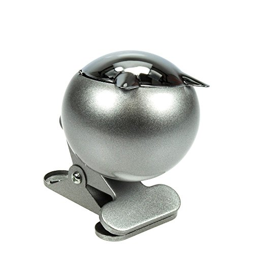 HI Aschenbecher mit Klipp, Metall, Silber, 18 x 18 x 10 cm (Aschenbecher Sonne)
