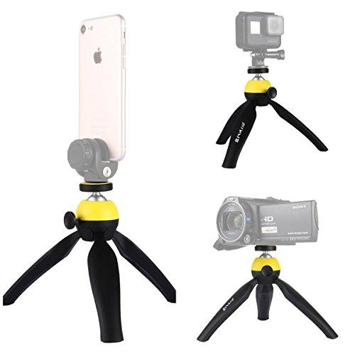 smartphones Camera Tripod kit, Puluz vue panoramique à 360 degrés de rotation Selfie Stick Bluetooth retardateur avec tête de trépied + Support de trépied + Support de caméra d'action + Téléphone + Télécommande de serrage pour Tripod-Yellow