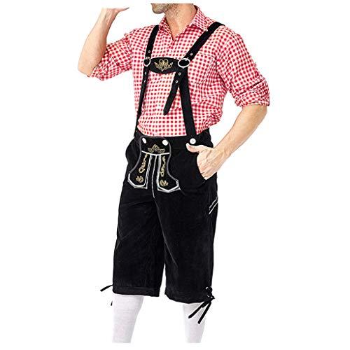 ➤Refill➤ Herren Trachten Lederhose | Kniebundhose +Trachtenhemden für Herren,Oktoberfest, Kurze antik Look Bayerische Herren Trachten Lederhose mit Trägern