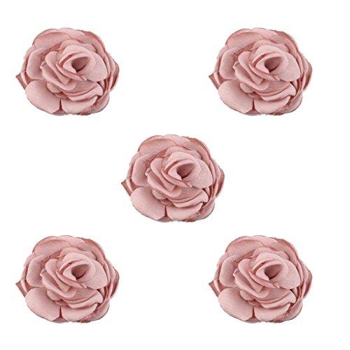 MagiDeal 5 Stücke Kunstblumen aus Chiffon Blumen Verzierungen Haarspange Haarnadel Zubehör Kopfschmuck Haarschmuck Verschönerungen - Rosa