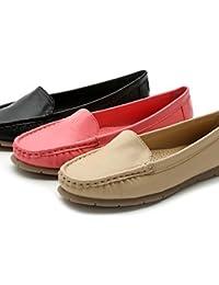 ZQ Zapatos de mujer - Tacón Plano - Comfort / Punta Redonda / Punta Cerrada - Mocasines - Vestido / Casual - Semicuero -Negro / Coral / , coral-us8.5 / eu39 / uk6.5 / cn40 , coral-us8.5 / eu39 / uk6.5 / cn40