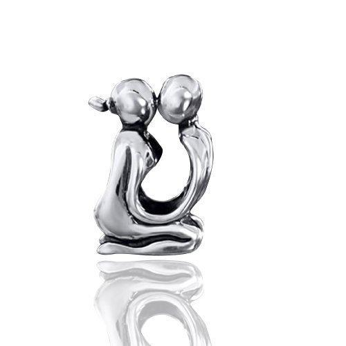 Silber Beads Ehe Element Liebespaar für Beads Armband - European Bead Liebe/Kuss aus massivem 925 Sterling Silber im Antik Style #1503