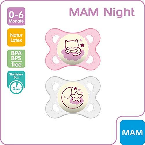 MAM Night Latex Schnuller im 2er-Set, leuchtender Baby Schnuller, kiefergerechtes & symmetrisches Design mit Schnullerbox, 0 - 6 Monate, rosa