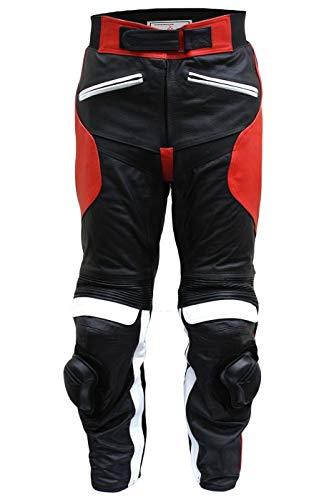 Pantaloni di Pelle bovina per motociclista, colore nero/rosso moto donna bianco, Uomo, GW421T Red, Schwarz/Rotweiß, M