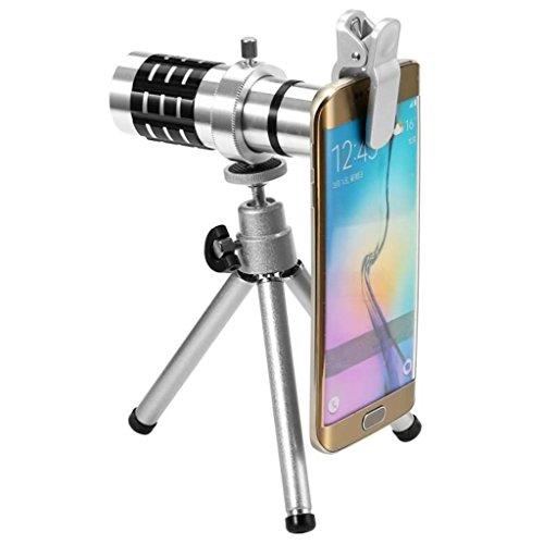 12X Handy-Objektiv, Tele-Teleskop mit einem Handy-Stativ, gemeinsame für alle Arten von Smartphones