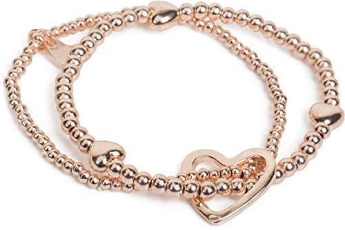 styleBREAKER Damen Perlen Armband 2er Set mit Herz Charms, Gummizug Kugelarmband, Schmuck, Damen 05040155, Farbe:Rosegold
