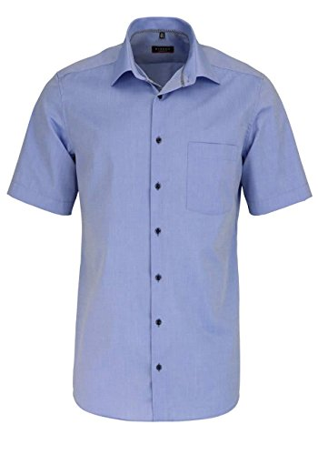 Eterna Half Sleeve Shirt Modern Fit Chambray Uni Blu