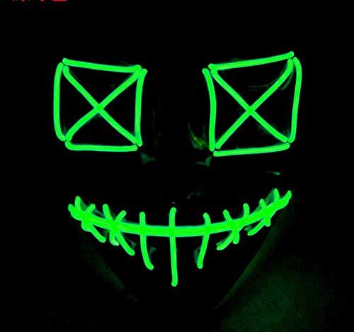 Queta Halloween Masken 2019 Version LED Leuchten Maske Halloween Accessoires Karneval Maske für Festivalparty Cosplay Batterie Angetrieben (Grün) (Halloween 2 Maske 2019)
